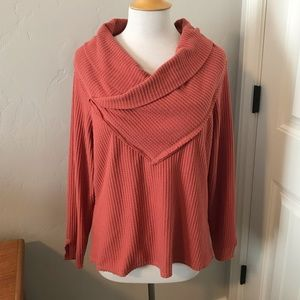 Democracy Waffle Knit Cowl Neck Salmon Sweater